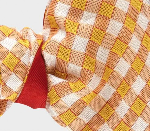 bow tie yellow Vichy - cotton and silk - CINABRE Paris