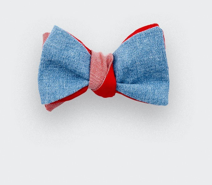CINABRE Paris - Bow Tie - Denim Rouge - Made in France
