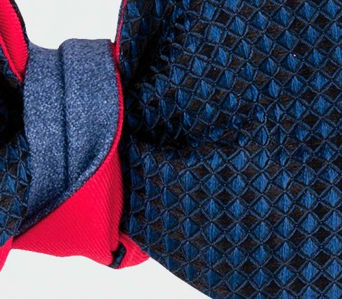 bow tie 3D  and Denim Flannel - CINABRE Paris - silk wool