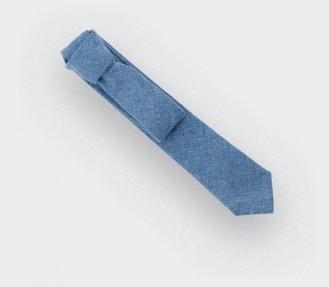 Cravate Denim en coton et soie - fait main en France par CINABRE Paris