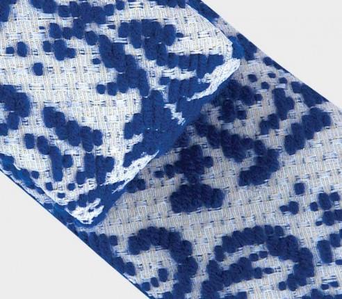 Cravate Brocard Bleu blanc - laine et soie - CINABRE Paris