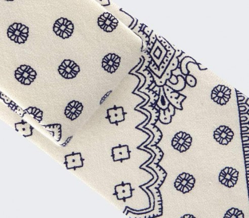 Cravate Fleurigny bleu en soie et coton, bleu et blanc - CINABRE Paris