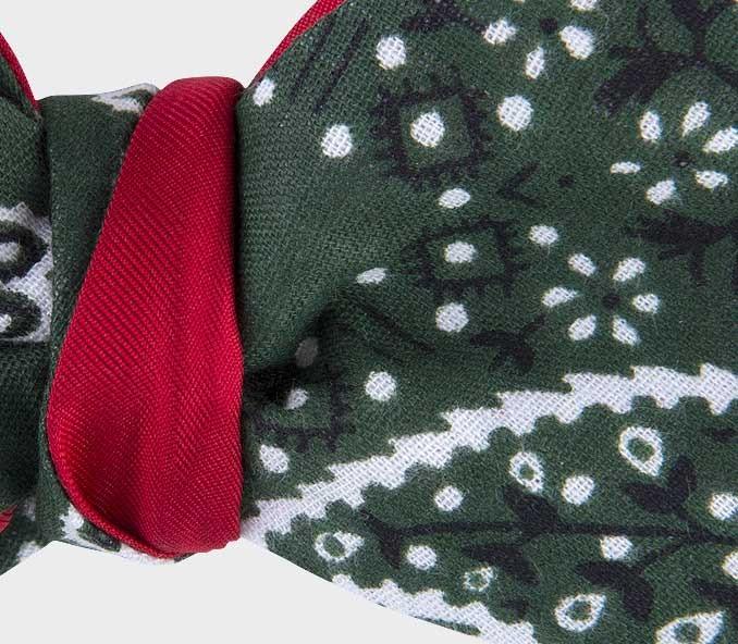 noeud papillon bandana vert - coton - cinabre paris