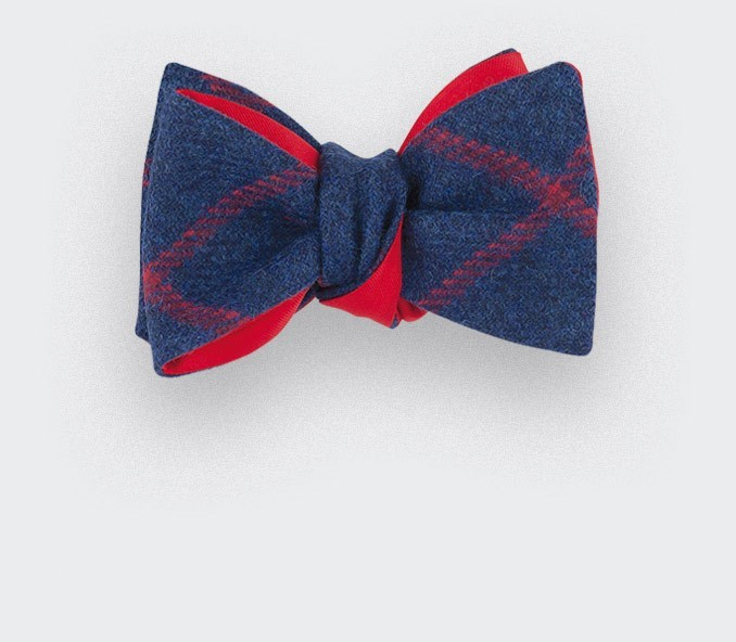 Noeud Papillon tweed carreaux Bleu Marine