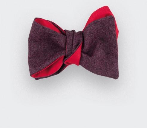 CINABRE Paris - Bow Tie - Bordeaux Flannel - Hand Made