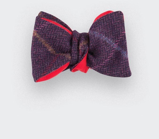 10d2e19239de Bow tie purple windowpane tweed - wool - CINABRE Paris