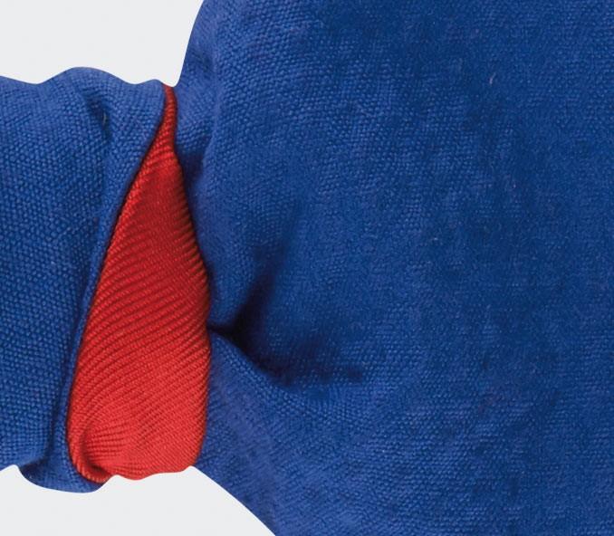 Noeud Papillon seersucker bleu - coton seersucker & soie - CINABRE Paris