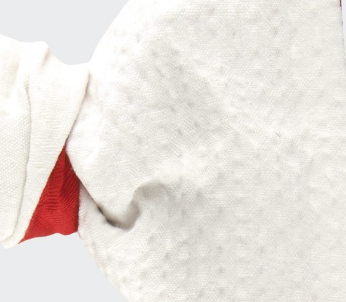 Noeud Papillon seersucker blanc - coton seersucker et soie - CINABRE Paris