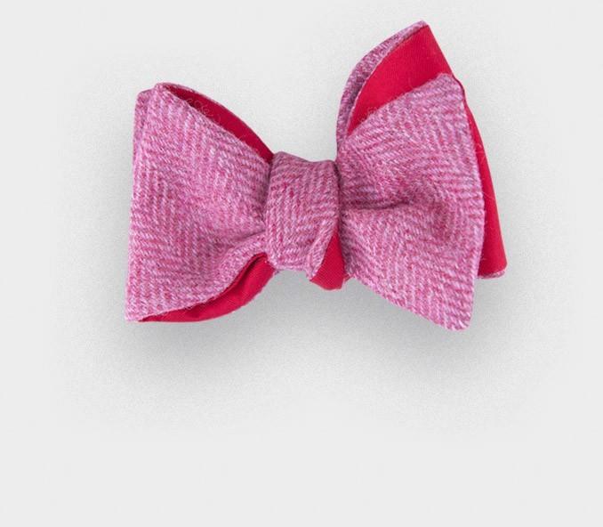 Noeud Papillon Tweed Chevron Rose
