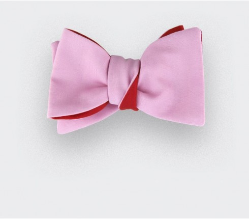 Coral Pink Bow Tie - silk and wool - CINABRE Paris