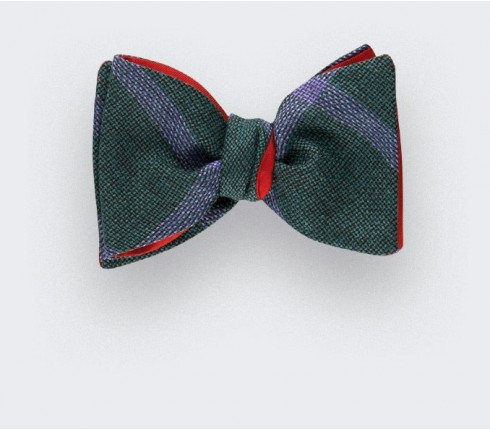 Spérone Green Bow Tie - wool and silk - Cinabre Paris