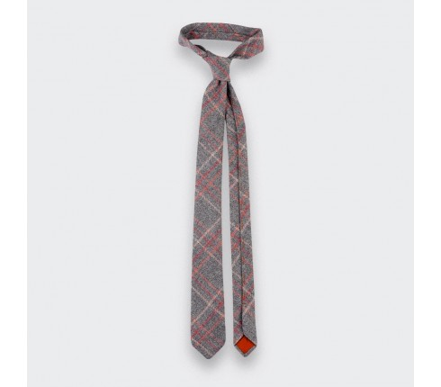 CINABRE Paris - tie - grey tweed - Loch Shin  - wool - Handmade in France