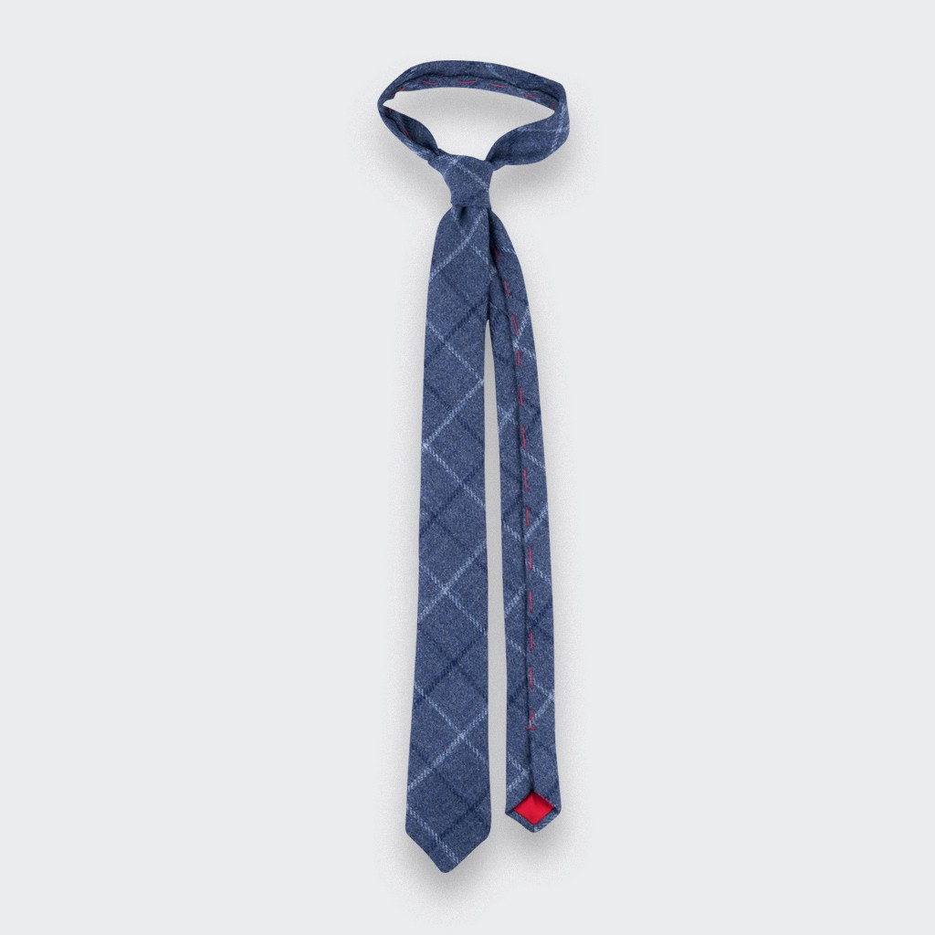Tie - Blue tweed - wool - Handmade in France by CINABRE Paris