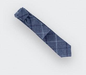 Cravate tweed carreaux bleu en laine, fait main en France par CINABRE Paris