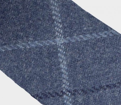 Cravate tweed carreaux bleu en laine, fait main en France par CINABRE Paris