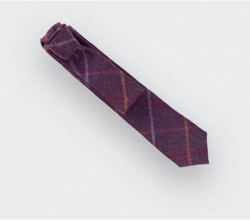 Tie - purple tweed made with wool - handmade in France by CINABRE Paris