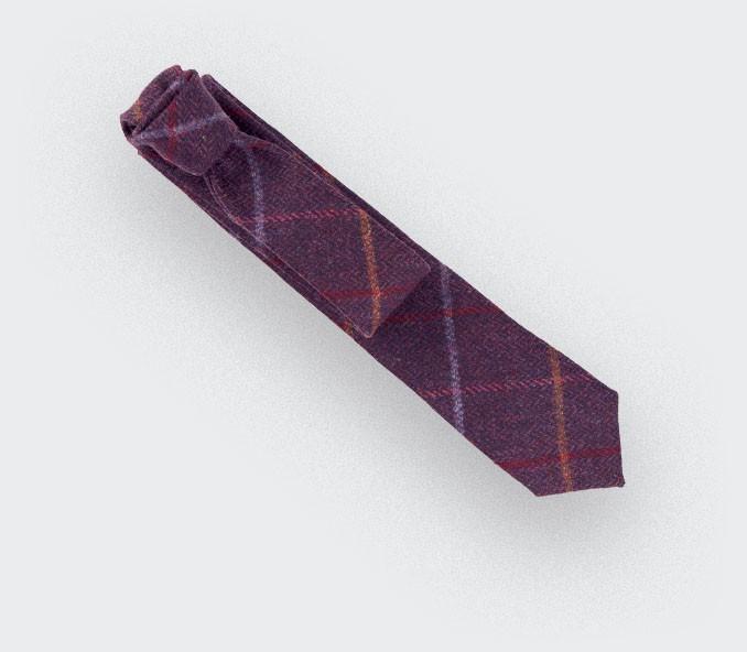 Cravate tweed carreaux violet fait en laine, fait main en France par CINABRE Paris