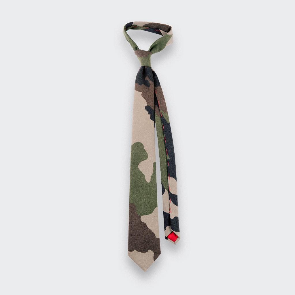 Cravate Opex Camo - coton - fait main en France par CINABRE Paris