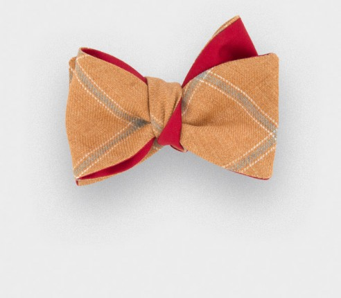 Orange Agay Bow Tie - linen and silk - Cinabre Paris