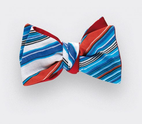 Bow tie Estérel - blue white and orange - silk and linen - CINABRE Paris