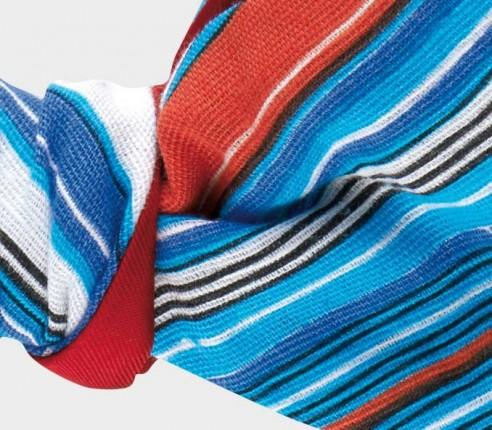 Noeud papillon Estérel en lin et soie, bleu orange et blanc - CINABRE Paris