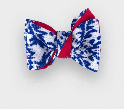 Noeud Papillon Brocart Bleu - Cinabre Paris - vintage