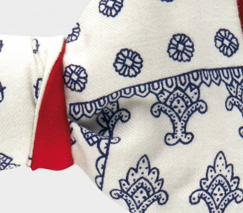 Noeud papillon Fleurigny bleu en soie et coton, bleu et blanc - CINABRE Paris