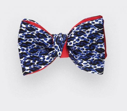 Noeud papillon La grande bleu en soie, bleu et blanc - CINABRE Paris