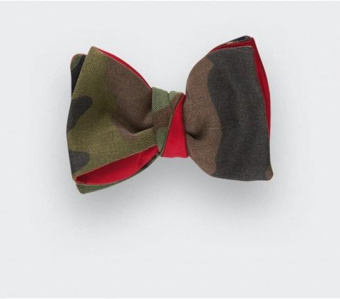 Noeud Opex Camouflage - CINABRE Paris - coton militaire vintage et soie