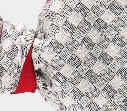 noeud papillon Vichy blanc - coton et soie - Cinabre Paris