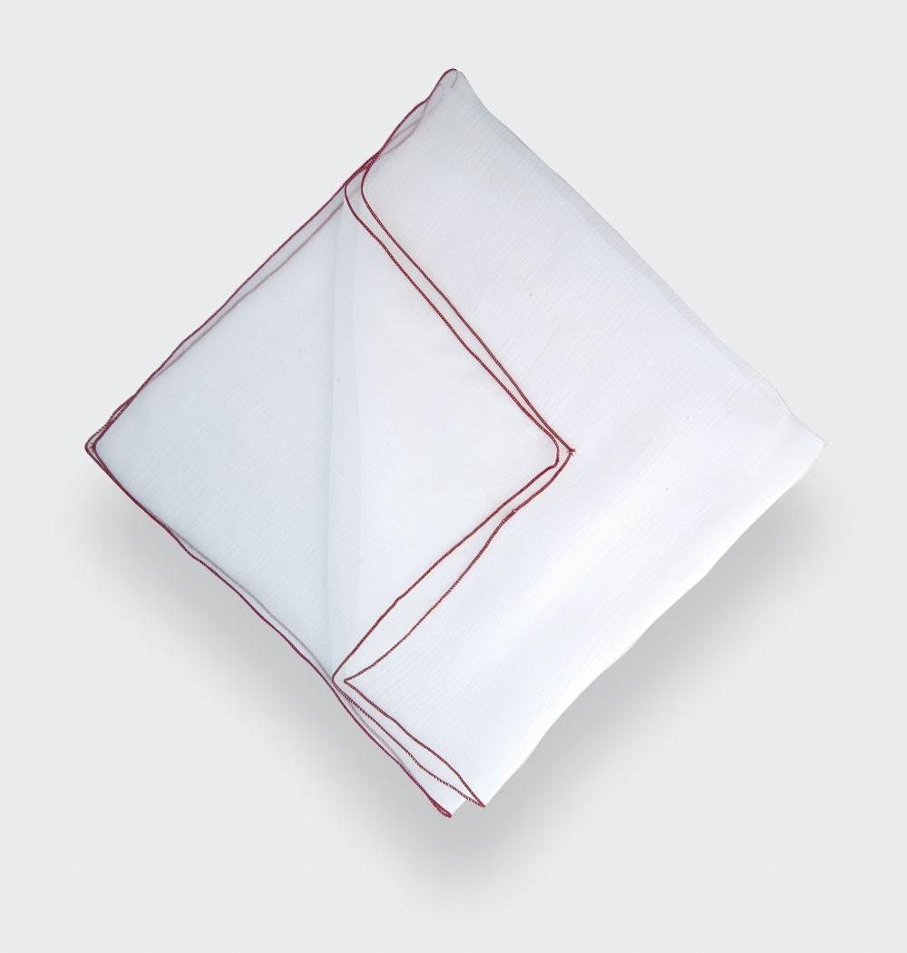 Pocket Square - White Silk Chiffon - CINABRE Paris