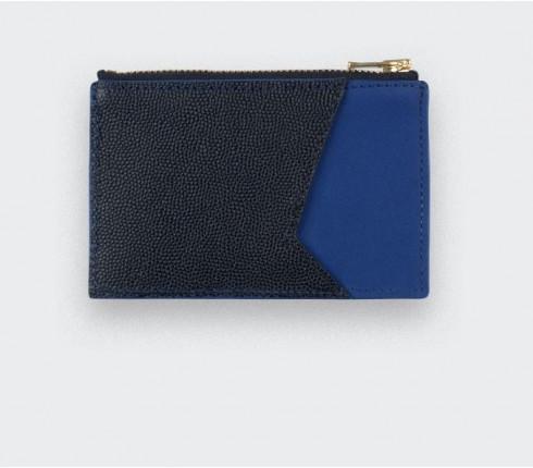 Porte cartes Bleu et Cuir Caviar Noir - Cinabre Paris