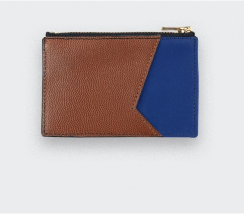 Blue Card holder with brown caviar leather - Cinabre Paris