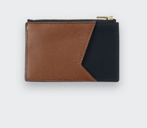 Black Card holder with brown caviar leather - Cinabre Paris