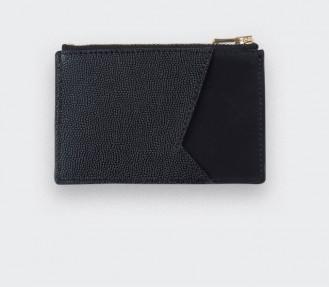 Porte cartes Noir et Cuir Caviar Noir - Cinabre Paris