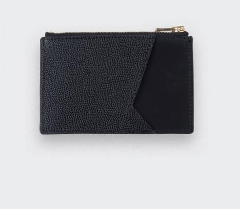 Black Card holder with black caviar leather - Cinabre Paris
