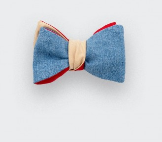 Bow Tie Yellow Denim - cotton and wool - Cinabre Paris