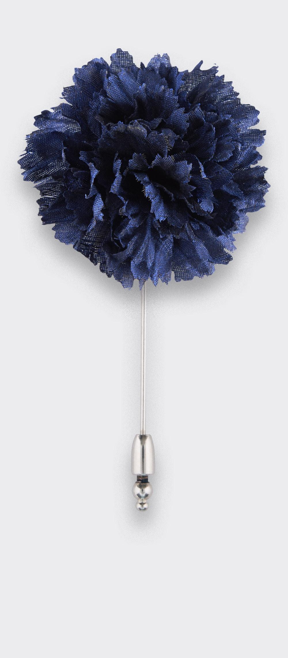 Flower Lapel Pin navy Blue silk - Cinabre Paris