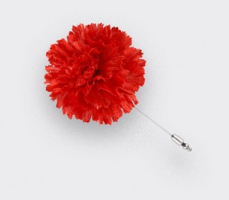 Flower Lapel Pin Red Silk - Cinabre Paris