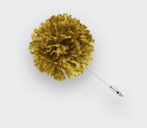 Flower Lapel Pin Yellow Silk - Cinabre Paris