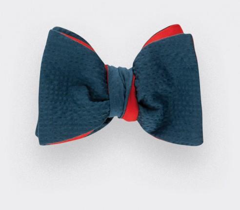 Noeud Papillon seersucker Canard- coton et soie - CINABRE Paris