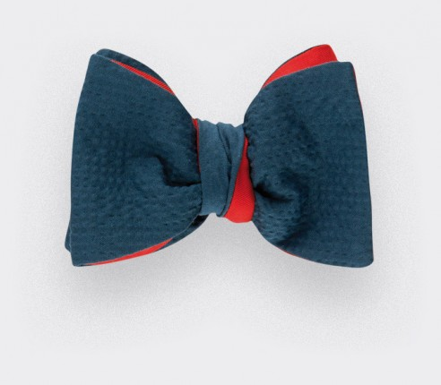 Pigeon Blue Seersucker Bow Tie -  cotton and silk - CINABRE Paris