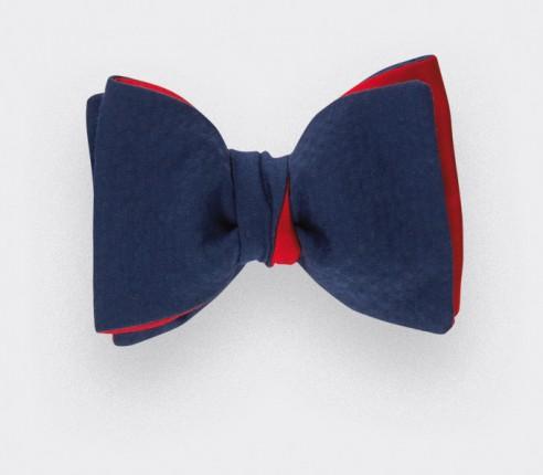 Noeud Papillon seersucker Bleu marine - coton et soie - CINABRE Paris