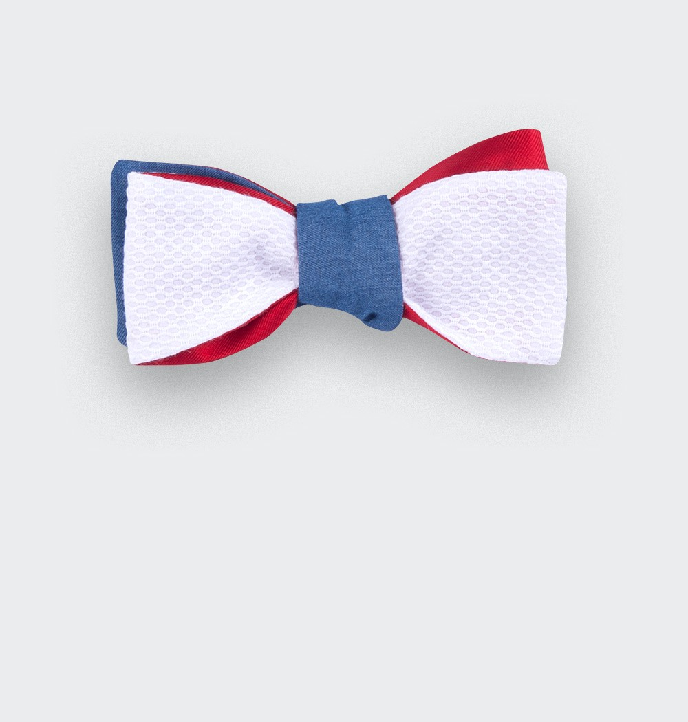 Piqué Denim Slim Bow Tie - Cinabre Paris