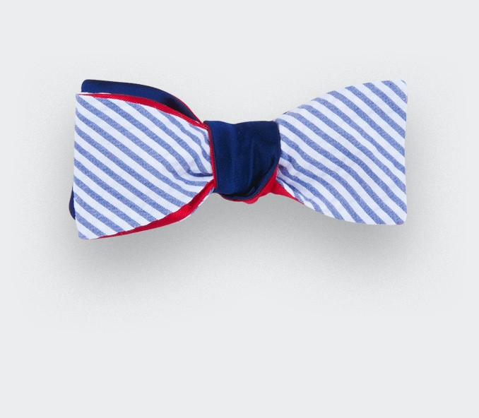 Seersucker satin Slim Bow Tie  - Cinabre Paris