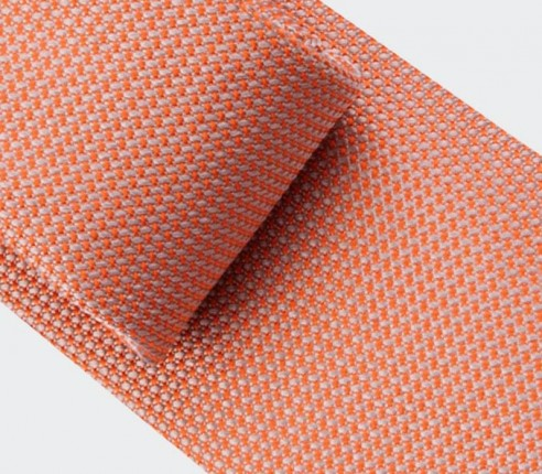 Orange Woven Silk Tie - Silk - Cinabre Paris
