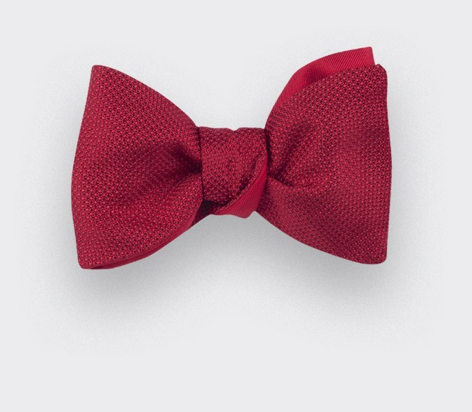 Red Woven Silk bow tie - silk - handmade in France by CINABRE Paris