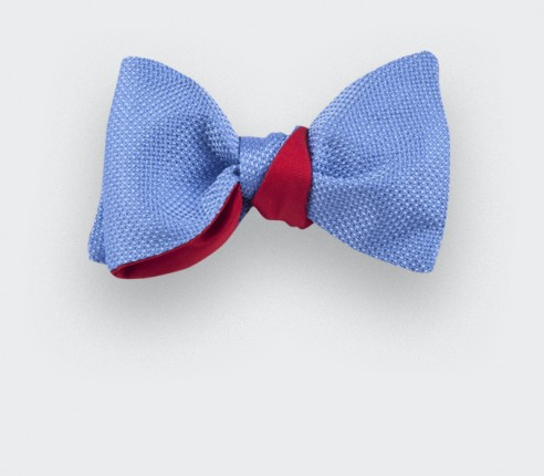 Sky Blue Woven Silk bow tie - silk - handmade in France by CINABRE Paris