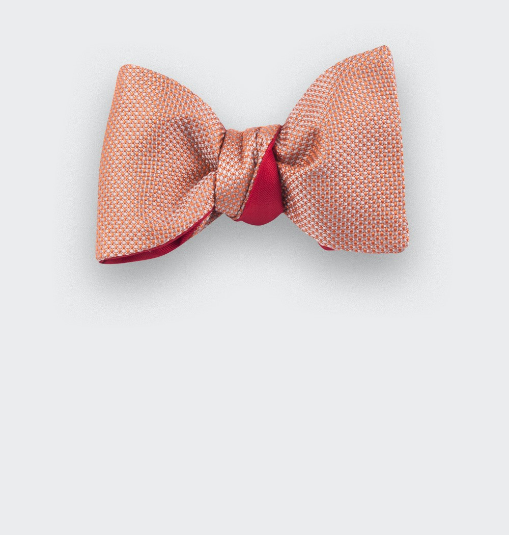 Orange Woven Silk bow tie - silk - handmade in France by CINABRE Paris