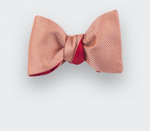 Orange Woven Silk bow tie - silk - handmade in France by CINABRE Paris